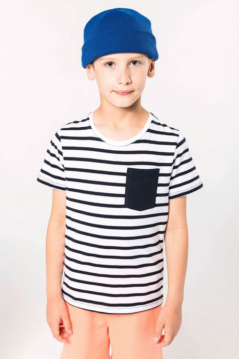 Dětské pruhované tričko s kapsičkou - zvětšit obrázek